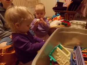 Twins playing.