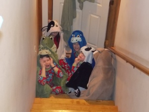 This is how I found them on Christmas mornng. Huddled at the bottom of the stairs- waiting.