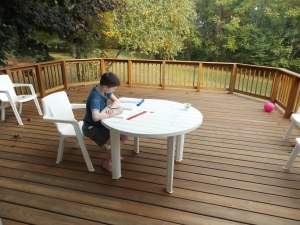 Math, on the deck, in October